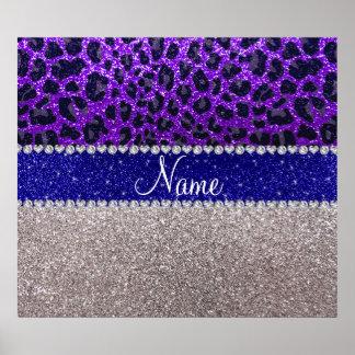 Personalized name silver purple leopard glitter poster