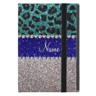 Personalized name silver turquoise leopard glitter cover for iPad mini