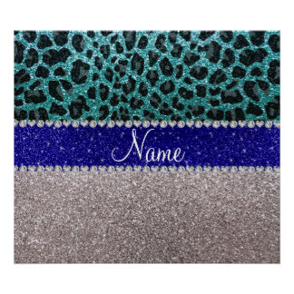 Personalized name silver turquoise leopard glitter posters
