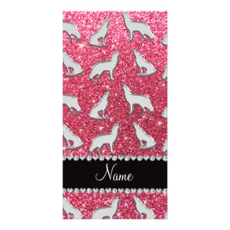 Personalized name silver wolf fuchsia pink glitter personalised photo card
