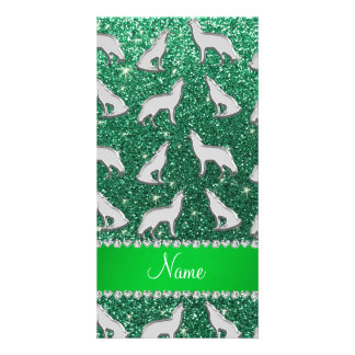 Personalized name silver wolf mint green glitter customized photo card