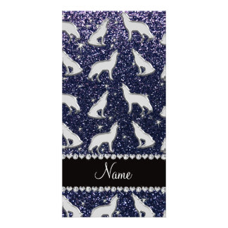 Personalized name silver wolf navy blue glitter photo greeting card