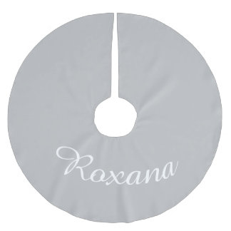 Personalized Name Silver Xmas Holiday Christmas Brushed Polyester Tree Skirt