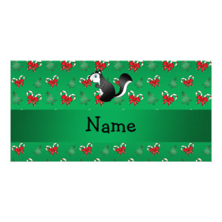 Personalized name skunk green candy canes bows photo cards