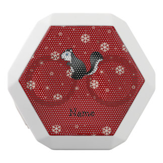 Personalized name skunk red snowflakes