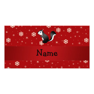 Personalized name skunk red snowflakes customised photo card