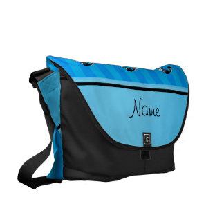 Personalized name skunk sky blue stripes courier bag
