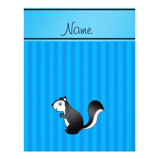 Personalized name skunk sky blue stripes custom flyer