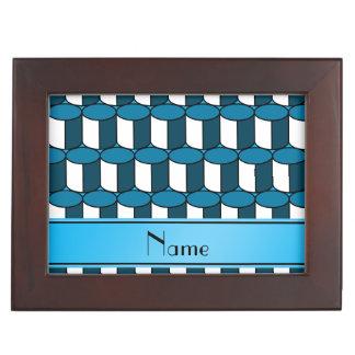 Personalized name sky blue 3d circles keepsake box