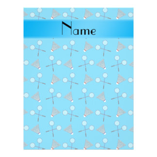 Personalized name sky blue badminton pattern personalized flyer