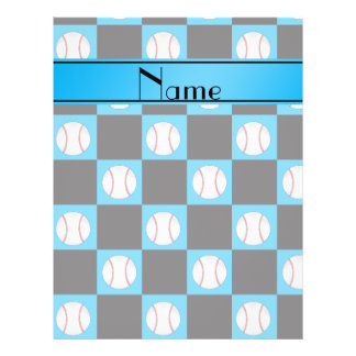 Personalized name sky blue baseball checkers personalized flyer