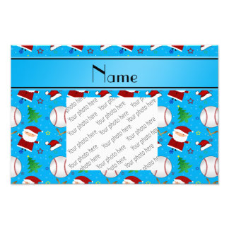 Personalized name sky blue baseball christmas photographic print