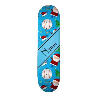 Personalized name sky blue baseball christmas skate decks