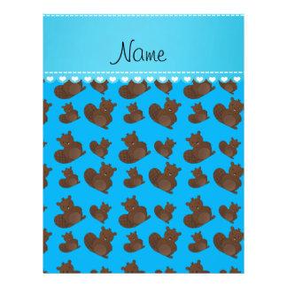 Personalized name sky blue beaver pattern 21.5 cm x 28 cm flyer