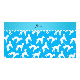 Personalized name sky blue bedlington terrier dogs customised photo card