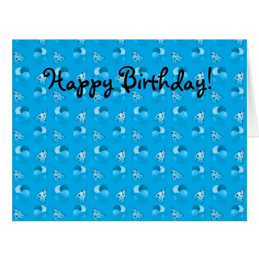 Personalized name sky blue birthday pattern card