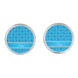 Personalized name sky blue bunnies silver finish cufflinks