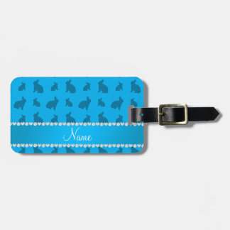 Personalized name sky blue bunnies tag for luggage