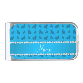 Personalized name sky blue bunnies silver finish money clip