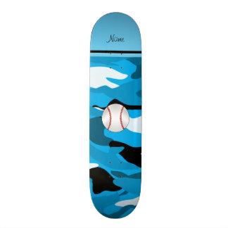 Personalized name sky blue camo baseball skate board decks