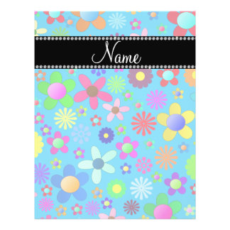 Personalized name sky blue colorful retro flowers full color flyer