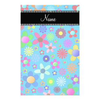Personalized name sky blue colorful retro flowers stationery