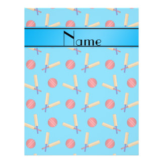Personalized name sky blue cricket pattern 21.5 cm x 28 cm flyer