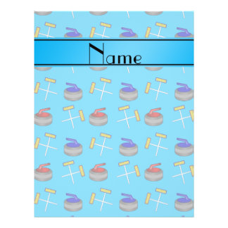 Personalized name sky blue curling pattern full color flyer