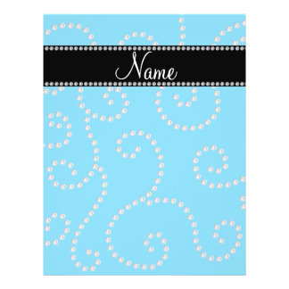 Personalized name sky blue diamond swirls full color flyer