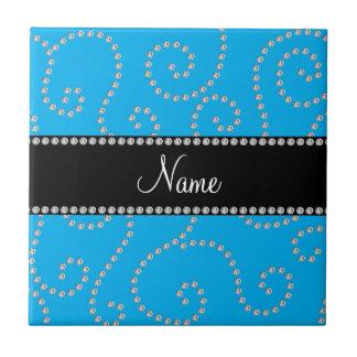 Personalized name sky blue diamond swirls ceramic tile