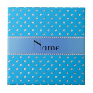 Personalized name sky blue diamonds ceramic tile