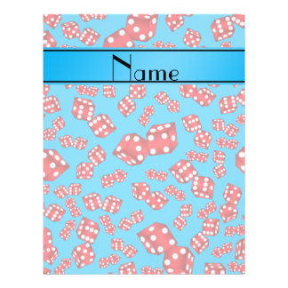 Personalized name sky blue dice pattern 21.5 cm x 28 cm flyer
