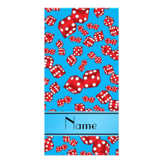 Personalized name sky blue dice pattern photo card