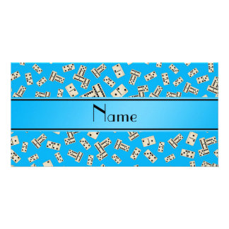 Personalized name sky blue dominos photo cards
