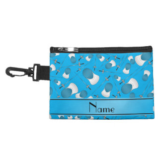 Personalized name sky blue fencing pattern accessories bags