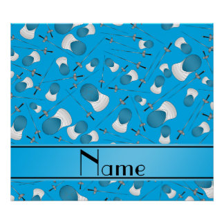 Personalized name sky blue fencing pattern poster