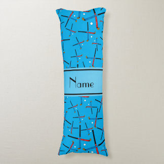 Personalized name sky blue field hockey body pillow