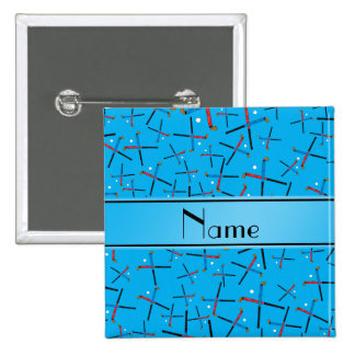 Personalized name sky blue field hockey pattern 15 cm square badge