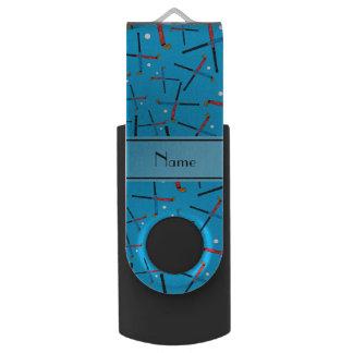 Personalized name sky blue field hockey swivel USB 2.0 flash drive