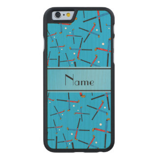 Personalized name sky blue field hockey carved® maple iPhone 6 case