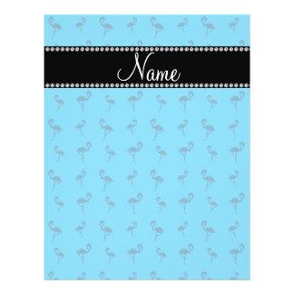 Personalized name sky blue flamingos flyer design