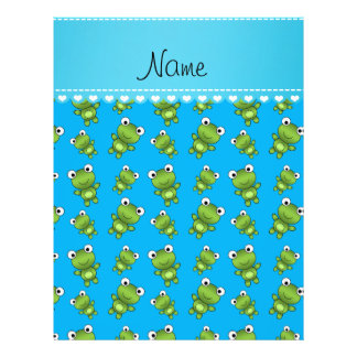 """Personalized name sky blue frogs 8.5"""" x 11"""" flyer"""