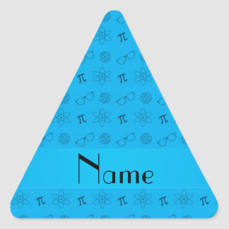 Personalized name sky blue geek pattern stickers