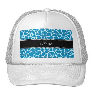 Personalized name sky blue giraffe pattern trucker hat