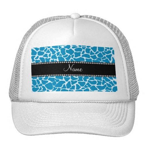 Personalized name sky blue giraffe pattern mesh hat