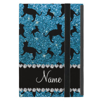 Personalized name sky blue glitter cats covers for iPad mini