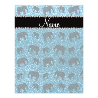 Personalized name sky blue glitter elephants full color flyer