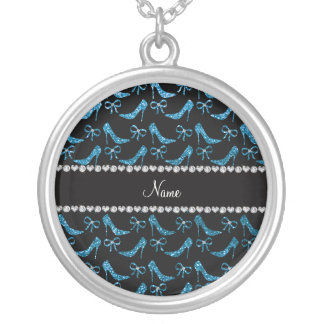 Personalized name sky blue glitter high heels bow necklace
