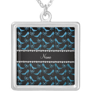 Personalized name sky blue glitter high heels bow necklaces