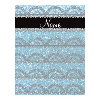 Personalized name sky blue glitter lace flyer design